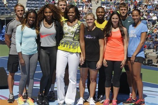 Michelle Obama, Sloane Stephens, Serena Williams, Denis Kudla, Jack Sock, Melanie Oudin, Donald Young